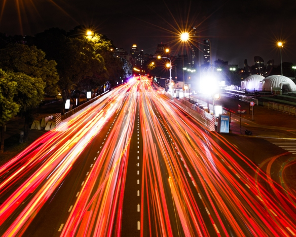 Traffic in downtown Buenos Aries - Long Exposure